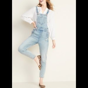 Old Navy distressed jean overalls size 2